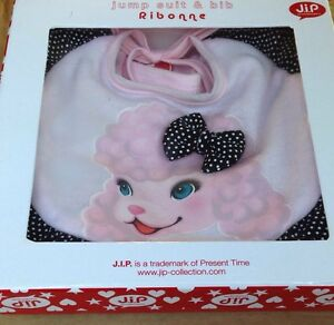 J-I-P-Pink-Poodle-Jump-Suit-and-Bib-6-12-Months-Baby-Gift