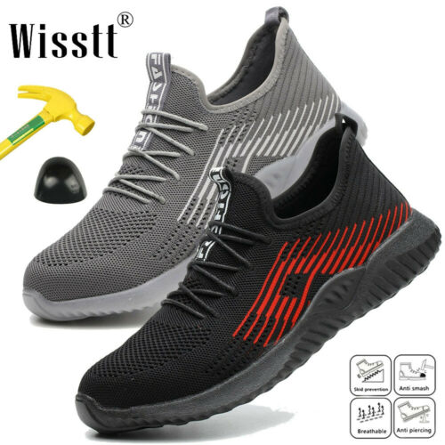 Men/'s Lightweight Steel Toe Safety Work Boots Mesh Shoes Sneakers Multiple Size