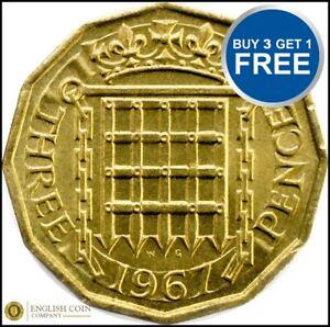 1953 et 1967 Elizabeth II en laiton trois Pence Choix de l'année / date