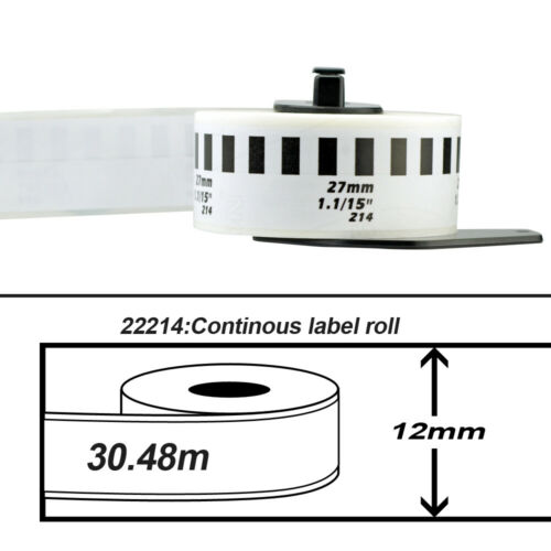 1 Roll of Compatible Brother QL-700 DK22214 DK-2214 Continuous Label 12mm*30.48M