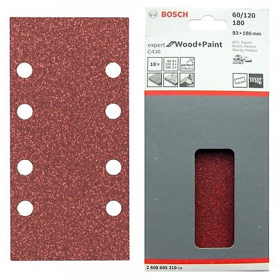 Grit 40–240 8-hole 50 Sanding Paper for Finishing Sanders 180 x 93 mm
