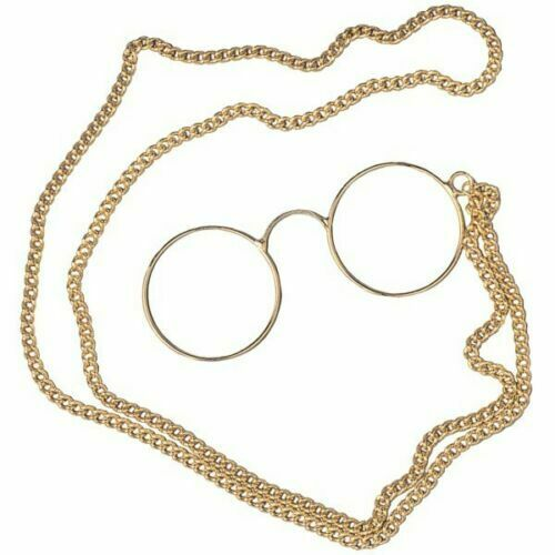 Pince-Nez Specs Round Gold 19th Century Armless Spectacles W// Chain