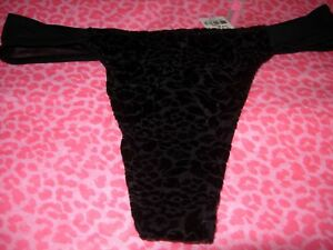176a6ba2f3be Victoria's Secret PINK MESH Thong Panty Pantie Luxe Velvet!! BLACK ...