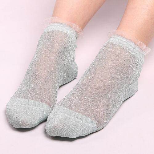 Women Summer Ruffle Glitter Mesh Ankle Socks Silver Gauze Fishnet Sock Stockings