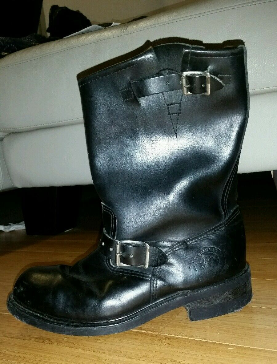 Vintage Mens Black Black Black Leather Motorcycle Engineer Steel Toe Boots shoes Sz 7.5 USA 823d27