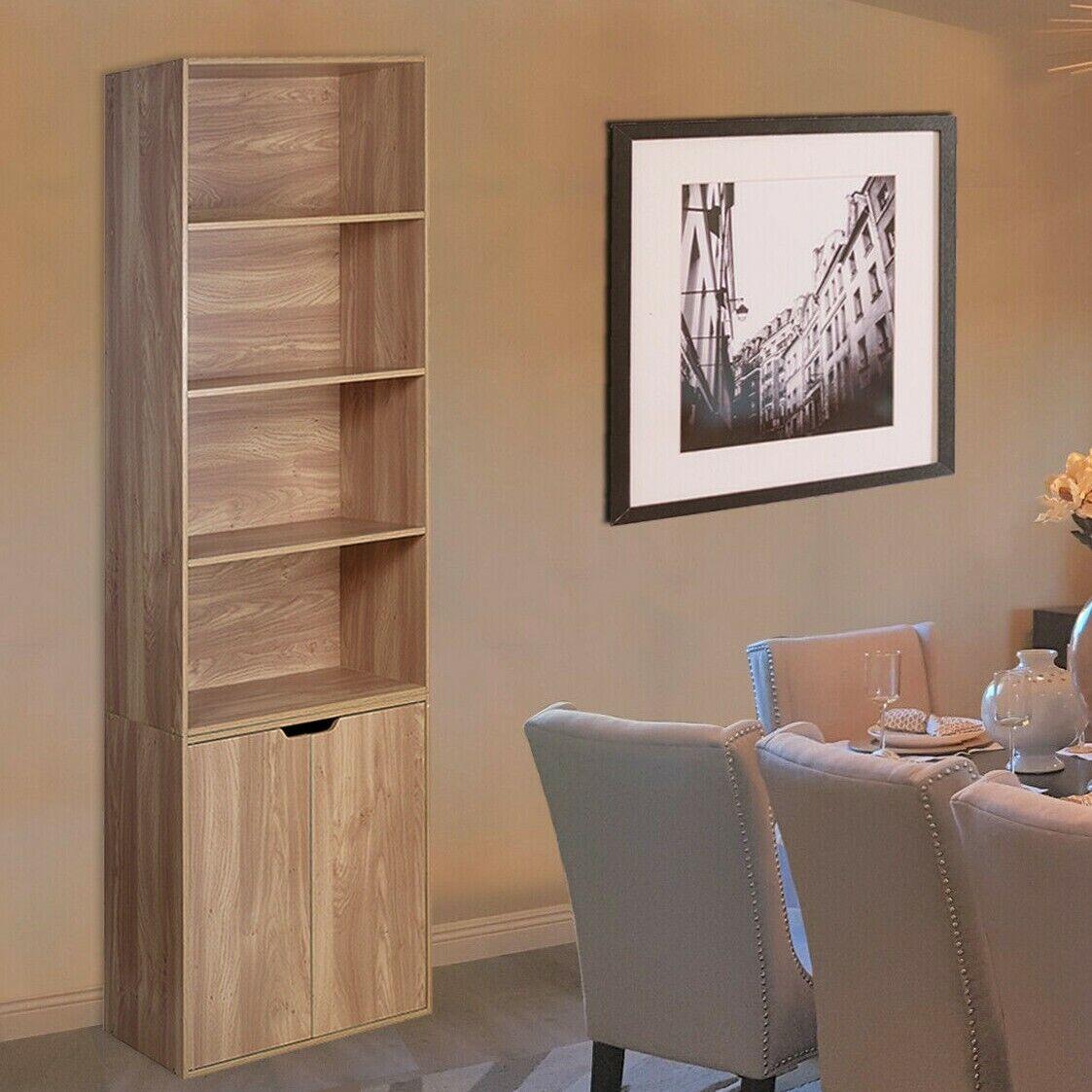 6 Tier Oak Bookcase With 2 Door Cupboard Storage Display Wood Shelf Living  Room