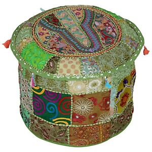 """Indian Round Pouf Cover Patchwork Embroidered Cloth Ottoman Bohemian 16"""" Green"""