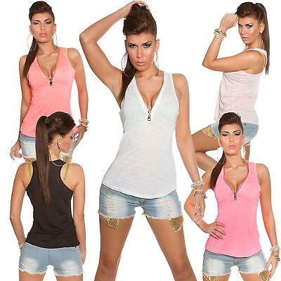 Damen Tank Top Tanktop Shirt Reißverschluss Zipper S M 34 36 Party Flamé Jersey
