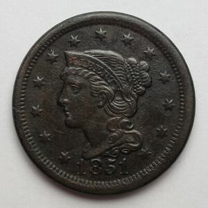 1851-Braided-Hair-Large-Cents-VF-Corroded