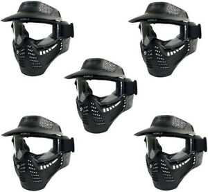 5pcs-Full-Face-Tactical-Combat-Protection-Mask-Safety-Goggles-w-Visor-New-Black