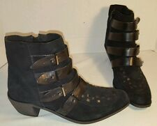 ANTHROPOLOGIE FREE PEOPLE RANGER BLACK SUEDE ANKLE BOOTS US 8 EU 38