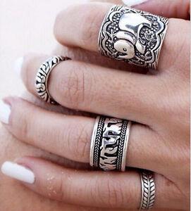 4X-Silber-Vintage-Elefant-Ring-Set-Frauen-Retro-Finger-Ringe-Boho-Stil-OX-ML