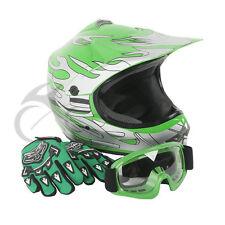 Youth Kids Green Flame Dirt Bike ATV Motocross Offroad Helmet MX+Goggles S DOT