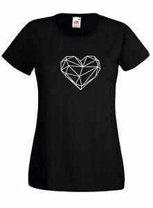 T-shirt Maglietta donna J2176 Cuore In Poly Art Minimal Heart Love Simbol