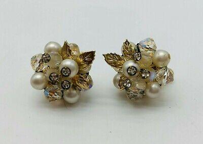 Vintage clear crystal rhinestone leaf earrings in silver