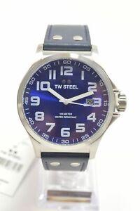 TW-Steel-TW401-Pilot-Blue-Dial-Leather-Strap-Men-039-s-Watch