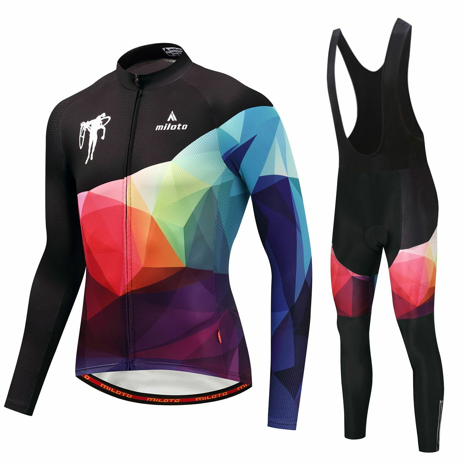 Men's Cycling Clothing Long  Kit Long Sleeve Jersey and (Bib) Pants Padded Set  unique design