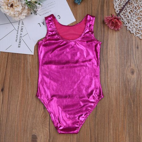 Girl Gymnastics Metallic Leotard Ballet Dance Tutu Dress Shiny Dancewear Costume
