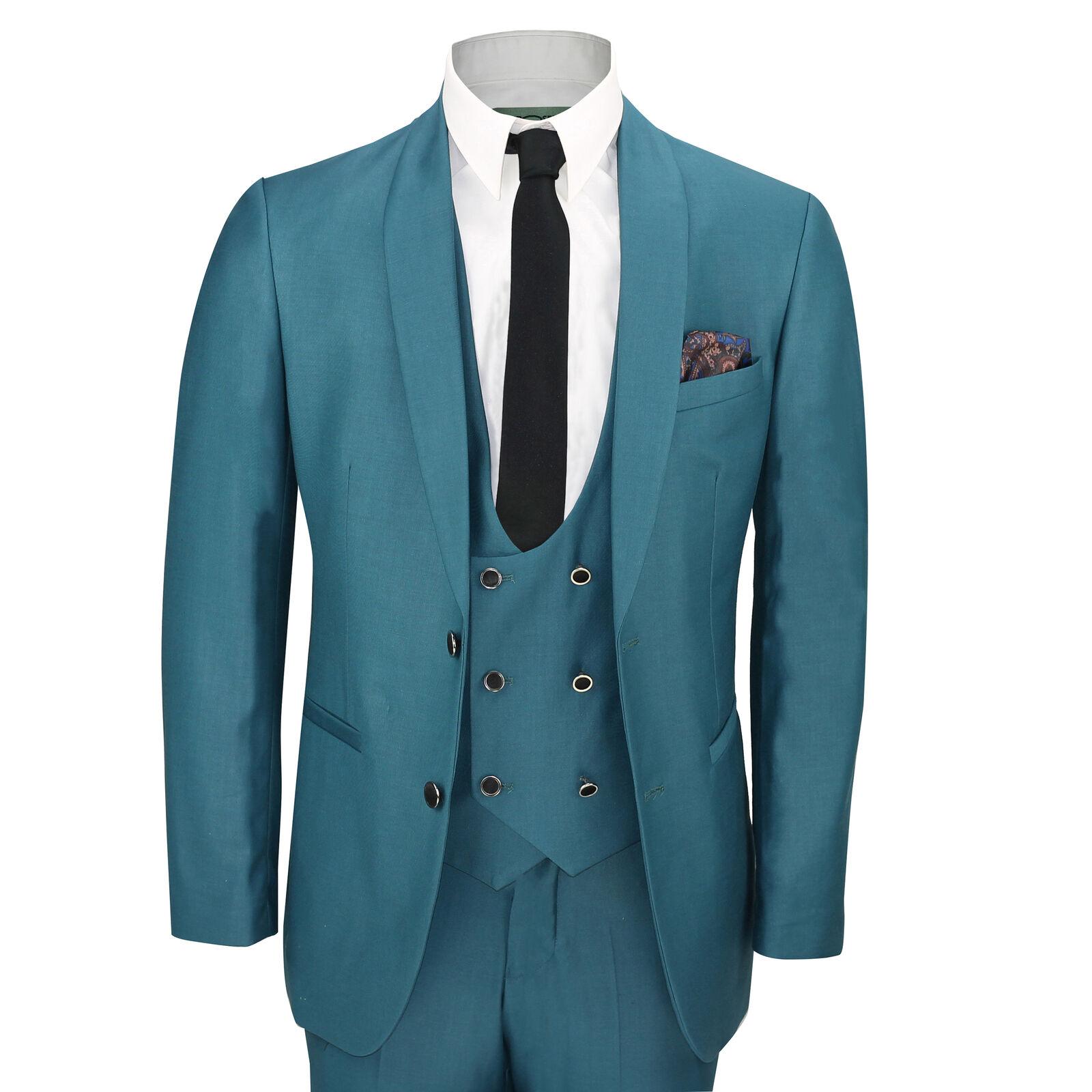 Da Uomo 3 PEZZI Color Foglia Di Tè Blu Scialle Scialle Scialle Bavero Slim Fit Vintage Smart Smoking Abito da sposa Prom cb110f