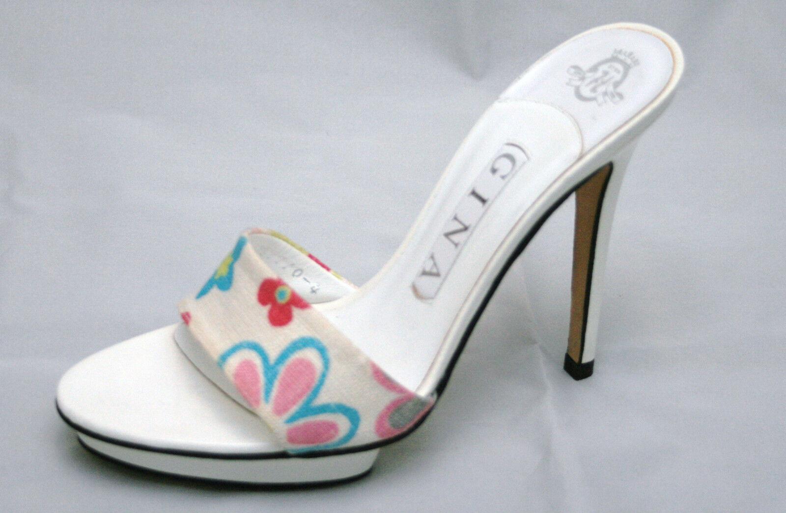 Gina white/floral print platform mules, UK 3.5/EU 36.5, BNWB, RRP £325 3455