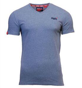 Superdry-Mens-New-Orange-Label-V-Neck-Short-Sleeve-T-Shirt-Sky-Blue-Grit