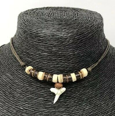 REAL SHARK TOOTH MAKO WHITE TEETH PENDANT NECKLACE WOOD BEADS SURFER boy mens