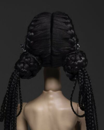 Muñeca de BJD Peluca para popovy Sisters Negro Alpaca pelo