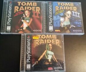 Sony Playstation Ps1 Tomb Raider 1 2 3 1 3 Complete Black Label