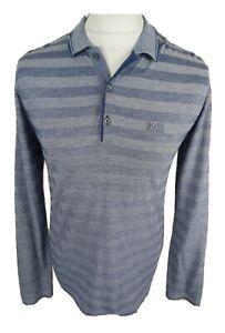 Homme-HUGO-BOSS-manches-longues-polo-chemise-rayures-bleu-moyen-Tres-bon-etat-40-tour-de-poitrine
