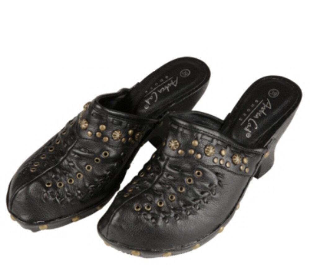 Andrea Conti - Schuhe Clogs Mules Pantolette schwarz mit Nieten 39 40 NP