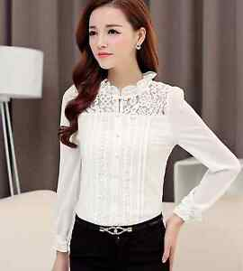 Button-Up-Elegant-Classic-Frill-Evening-Classy-Work-Office-Lace-Top-Mesh-Blouse