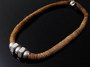 Lederkette-50-cm-braun-Kette-Halskette-Halsschmuck-Herrenkette-biker-neu