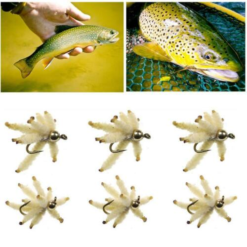 6pcs//Box Maggot Lures Fishing Baits Lures Carp Trout Flies for Fly Fishing