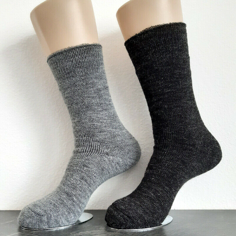 2 Paar Damen Alpaka Thermo Socken extra warm 100% Wolle Grau 35 bis 42