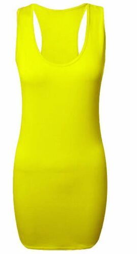 Ladies Womens Long Racer Back Bodycon Muscle Vest Top Gym Top All Sizes in Stock