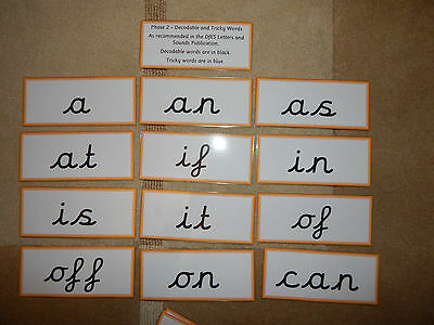 Phase 2 Decodable and Tricky words - Cursive Flash cards - EYFS/ KS1
