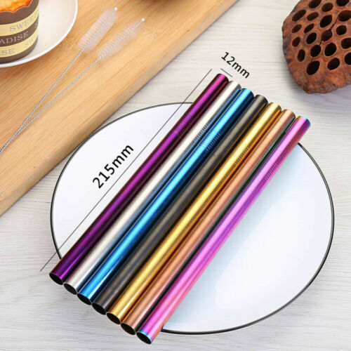 Premium Stainless Steel Metal Drinking Straw 7 Color Avail inc Extra Wide Long