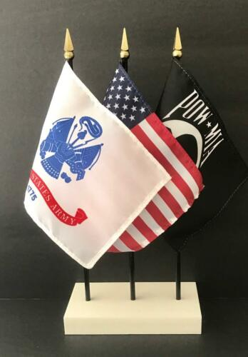 "1 American 1 United States Army and 1 POW//MIA 4/""x6/"" Flags Made in USA"