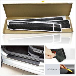 4X-Car-Accessories-3D-Carbon-Fiber-Door-Sill-Scuff-Protector-Stickers-amp-Tool-NEW