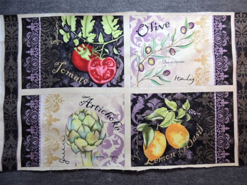 """Italian Pasta Sauce Ingredients Placements Quilting Fabric 24/"""" Panel  #374"""