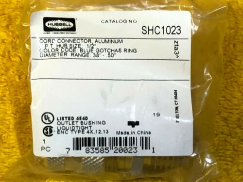 """HUBBELL SHC1023  1//2/"""" STRAIN RELIEF CORD CONNECTORS .38-.50/"""" NEW  LOT of 10"""