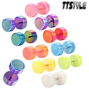 TTstyle-8mm-UV-Acrylic-Fake-Cheater-Ear-Plug-A-Paor-Choose-Colour-NEW