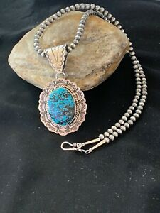Navajo-Sterling-Silver-Blue-Spiderweb-TURQUOISE-Necklace-Pendant-Set-3064-Gift