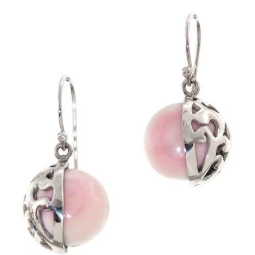 """9//16/"""" PINK MOTHER OF PEARL SHELL 925 STERLING SILVER earrings"""