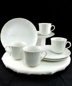 """GERMAN PORCELAIN 8 PIECE WHITE PANELED 8 1/4"""" SNACK PLATES AND CUPS"""