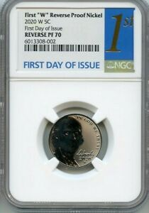"2020 W NGC Reverse Proof 70 Jefferson Nickel ☆☆ 1st Day of Issue ☆☆ First /""W/"""