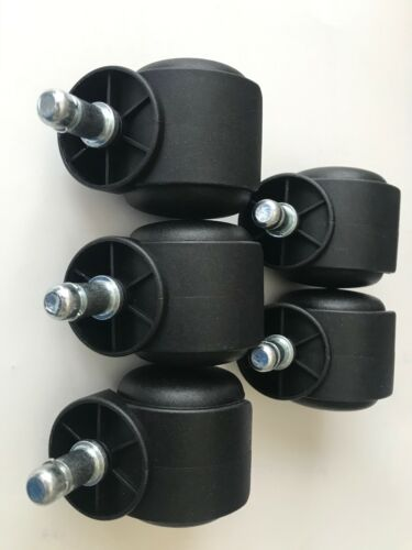 NEW PU Casters Wheels Rollers Fits Most Office Chairs /& Furniture 5pc Set Taiwan