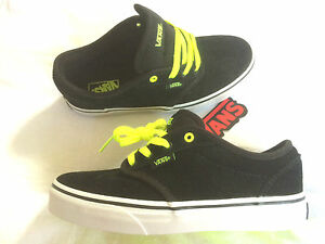 Vans-Atwood-KIDS-suede-black-neon-yellow-Skateboard-Schuh-skate-shoe-new-gr-34