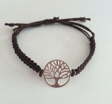 Braided Friendship Bracelet With Sterling Silver Tree Of Life Charm. Macrame