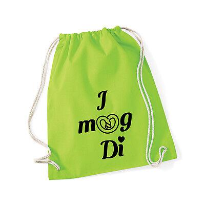 Baumwoll Turnbeutel mit Spruch Motiv  I mog di  Hipster Jute Tasche Gym Bag